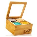 Klarstein Teebox 4 Fächer 60 Teebeutel Kunststoff-Sichtfenster Bambus