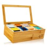 Klarstein Teebox 8 Fächer 120 Teebeutel Kunststoff-Sichtfenster Bambus