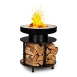 Blumfeldt Wood Stock 2-in-1-Feuerschale BBQ-Grill Ø56cm Edelstahl schwarz