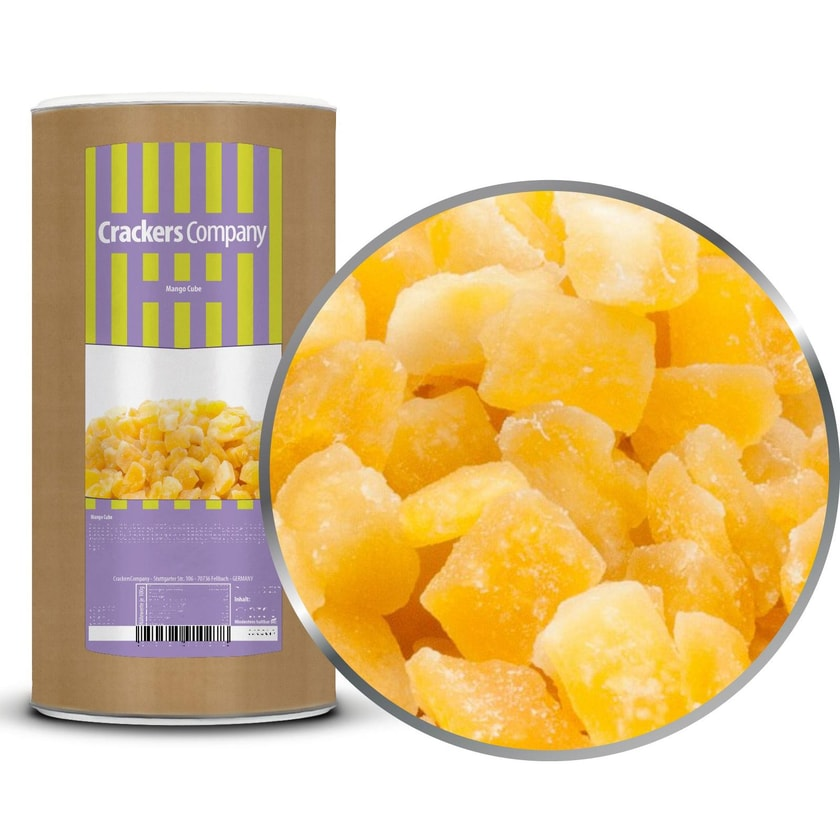 Mango Cube - Getrocknet und kandierte Mangowürfel - Membrandose groß 700g