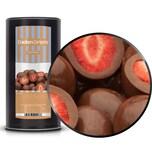 Brown Strawberry - Ganze Erdbeeren in Vollmilchschokolade - Membrandose groß 600g