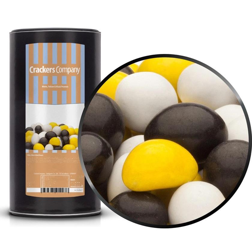 White, Yellow & Black Peanuts - Vollmilchschokonuss Weiß, Gelb & Schwarz - Membrandose groß 950g