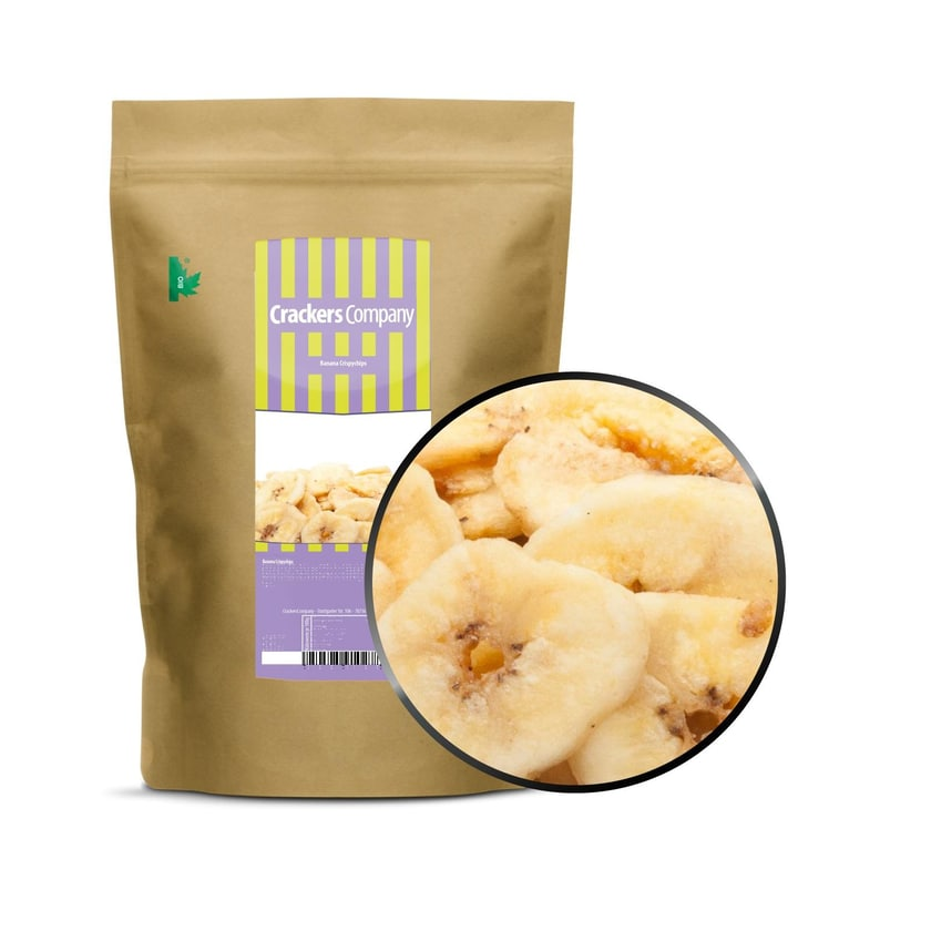 Banana Crispychips - Frittierte Bananenscheiben mit Honig - ZIP Beutel 350g
