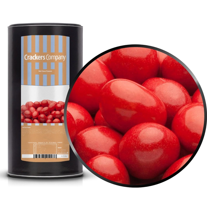 Red Choco Peanuts - Erdnüsse in Vollmilchschokolade Rot - Membrandose groß 950g