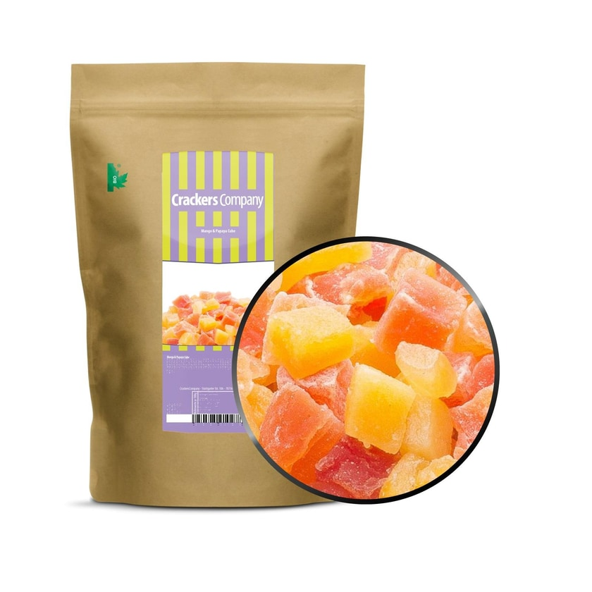 Mango & Papaya Cube - Mango & Papaya Würfel, kandiert - ZIP Beutel 600g
