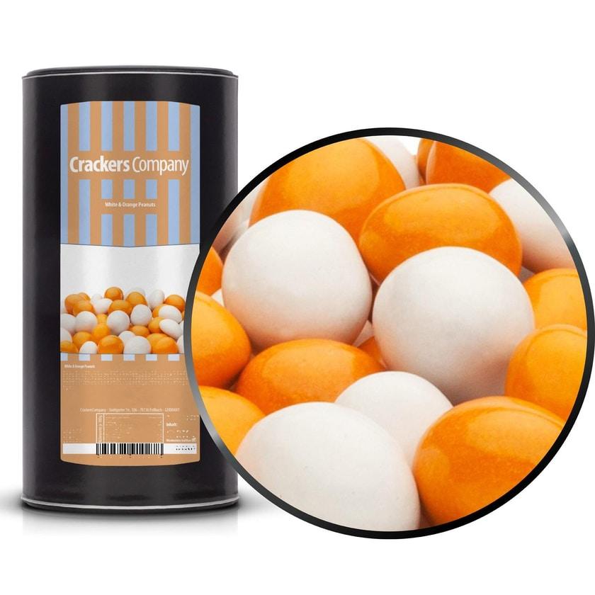 White & Orange Peanuts - Vollmilchschokonüsse Weiß und Orange - Membrandose groß 950g