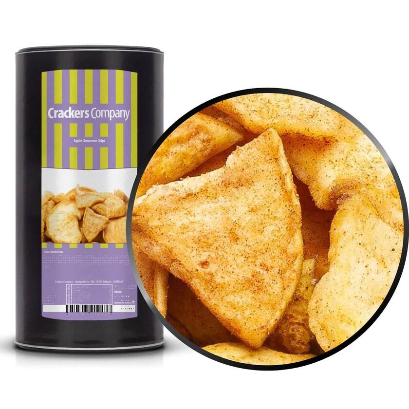 Apple Cinnamon Chips - Knusprige Apfelchips mit Zimtgeschmack - Membrandose groß 200g
