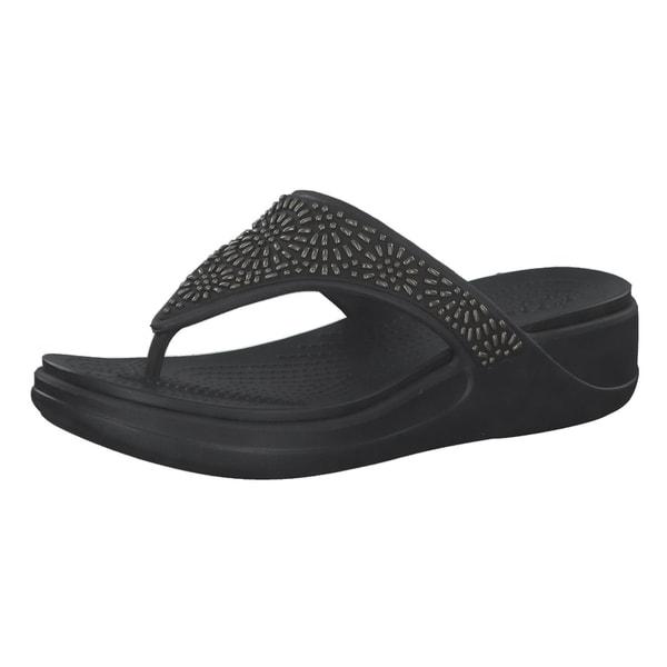 Crocs Damen Zehentrenner Monterey Diamante Wedge Flip 206343