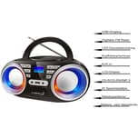 Cyberlux CD-Player mit LED-Disco-Beleuchtung schwarz/silber