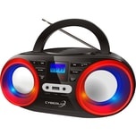 Cyberlux CD-Player mit LED-Disco-Beleuchtung schwarz/rot