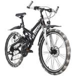 KS Cycling Kinder-Mountainbike ATB Fully 24'' Crusher schwarz-weiß