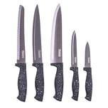 culinario 5-teiliges Messer Set GRANIT mit Titanium-beschichteten Stahlklingen