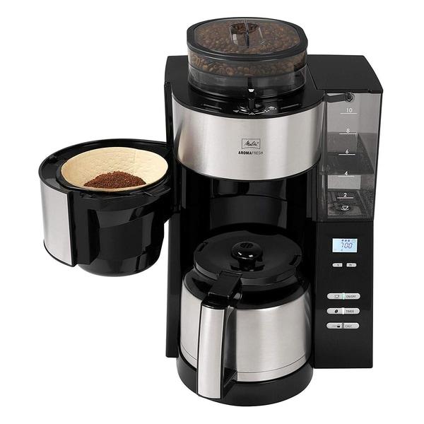 Melitta AromaFresh Therm Filterkaffeemaschine mit Mahlwerk silber/schwarz