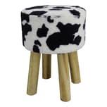 Echtwerk Sitzhocker mit Felloptik schwarz/weiß