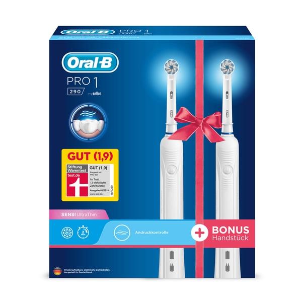 Braun Oral-B Pro 1 290 Elektrische Zahnbürste Duopack weiß