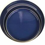 Gift Company Layer Tablett 3er blau goldfarben aus Metall mit Emaille