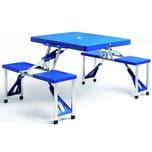 Deuba Alu Campingtisch Set Klappbar Tragbar Schirmhalterung Blau