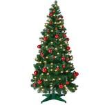 Casaria Pop-Up Weihnachtsbaum 150cm inkl. Lichterkette und 40 rote Weihnachtskugeln