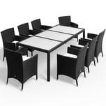 Casaria Poly Rattan Sitzgruppe 8 Stapelstühle 7cm Auflagen Tisch Gartenmöbel Set