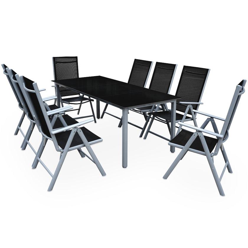 Casaria Aluminium Sitzgruppe Bern 8+1 klappbare Hochlehner Silber