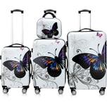 Monzana Hartschalenkofferset Butterly inkl. Beautycase