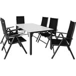 Casaria Aluminium Sitzgruppe Bern 6+1 Verstellbare Hochlehner Anthrazit