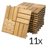 Deuba 11 STÜCK ~ 1m² - Holzfliese aus Akazie - 30x30cm Mosaik