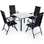 Casaria 4+1 Sitzgruppe Aluminium Verstellbare Lehne Milchglas Silber