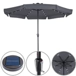 Deuba Sonnenschirm 32 LED Solar 330cm anthrazit