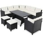 Casaria Poly Rattan Lounge Sitzgruppe Set WPC Garten Tisch - Schwarz Creme