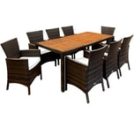 Casaria Poly Rattan Sitzgruppe Palermo 8 Stühle Gartentisch 190x90cm Garten Set Braun