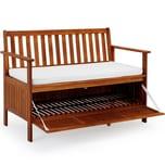 Casaria Gartenbank 2in1 Holz Staufach inkl Sitzauflage 120cm