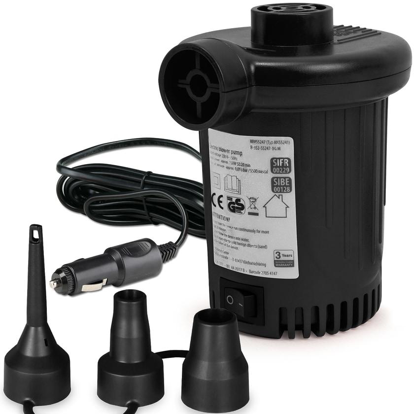 Deuba Elektrische Luftpumpe 12 V, 580l/min, 90W + 3 Adapter Autoadapter schwarz