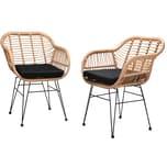 Casaria 2er Set Korbsessel Gartenstühle Bali Poly Rattan Optik