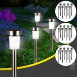 Deuba LED Solarlampe Edelstahl wetterfest warm-weiß Solarleuchte 24x