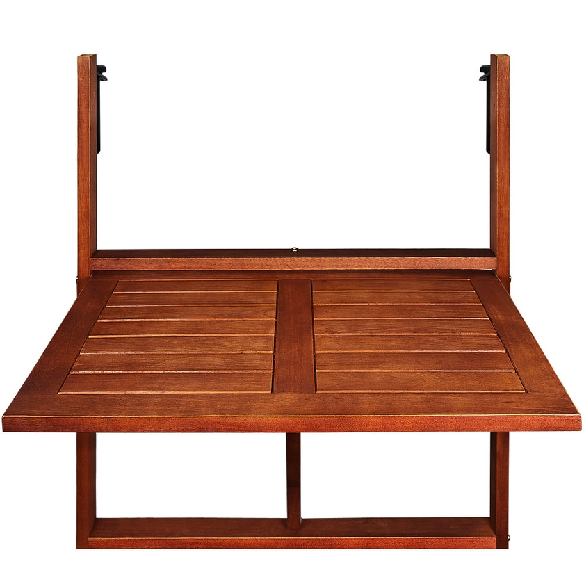 Casaria Balkontisch Balkonhängetisch Balkon Tisch klappbar Akazie Holz