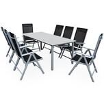 Casaria Aluminium Sitzgruppe Bern 8+1 Verstellbare Hochlehner Silber