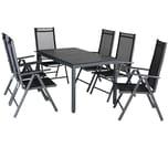 Casaria Aluminium Sitzgruppe Bern 6+1 WPC Tisch Hochlehner