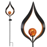 Deuba Solarleuchte Flamme für Outdoor Flammen Effekt 38cm