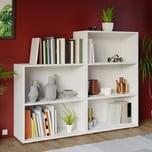 Deuba Bücherregal Standregal 2+3 Fächer Set Weiß
