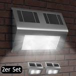 Deuba LED Solar Wandleuchte Edelstahl Dämmerungsschalter Wegeleuchte 2x