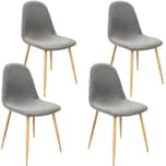 Deuba 4er Set Esszimmerstühle Küchenstühle Stoff hellgrau