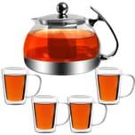 Monzana Teekanne mit Teesieb aus Edelstahl / Glas 1,2 L + 4er Set Teegläser