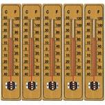 Deuba 5x Holzthermometer Klassisch Drinnen und Draußen