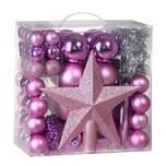 Casaria Weihnachtsbaumkugeln rosa 77 tlg.