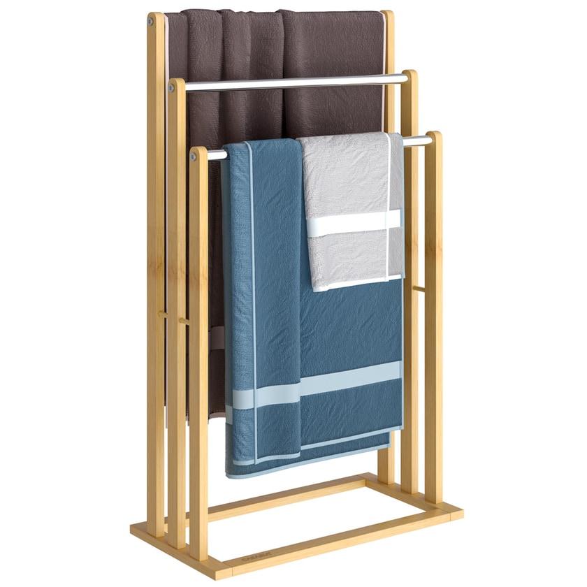 Casaria Handtuchhalter Bambus mit Edelstahlstangen Stufen bis zu 15kg