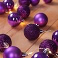 Lichterkette mit Weihnachtskugeln lila 2m Timerfunktion