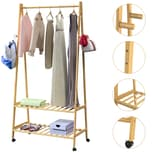 Casaria Kleiderständer Garderobenständer mit Rollen Bambus