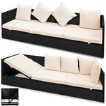Deuba Poly Rattan Lounge verstellbare Lehne Auflage Kissen Garten Liege