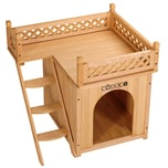 Deuba Hundehütte mit Balkon aus Holz